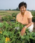 Cornell University's Anu Rangarajan in a vegetable crop