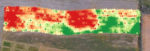 Map of crop using remote sensing to indicate vegetation upon cover crop termination.